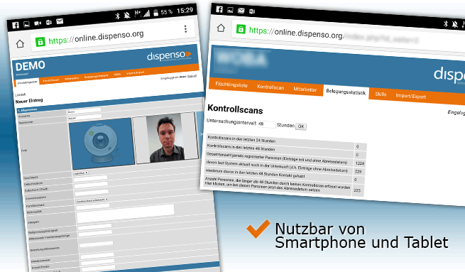 Dispenso am Smartphone oder Tablet